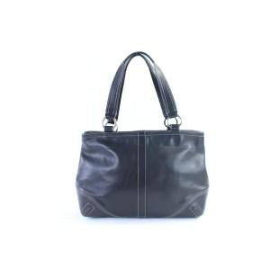 Coach Double Pocket Tote 12coz0710 Black Leather Shoulder Bag