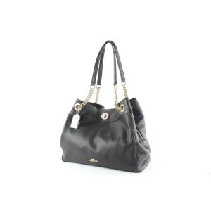 Coach Turnlock Chain Tote 8coe0108 Black Leather Shoulder Bag