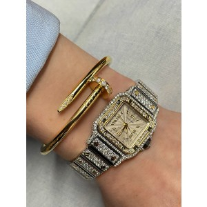 Cartier Santos Galbee Stainless Steel & 18K Yellow Gold Automatic Ladies Watch
