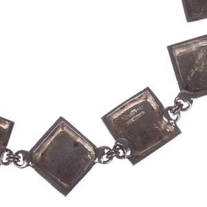 Claude Montana Silver Plated Square Link Necklace