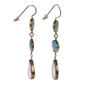 Sterling Silver Green Agate Blue Turquiose Druzy Quartz Drop Earrings