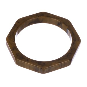 Octagonal Cream & Bakelite Swirl Bangle Bracelet