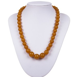 Victorian Graduated Yellow Amber Bead Necklace