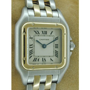 Cartier 2-Row Panther Stainless Steel & 18K Yellow Gold Womens Watch