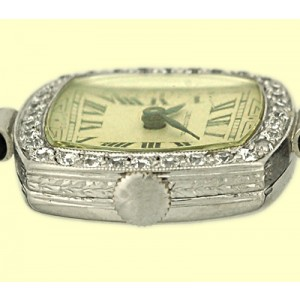 Dreiger & Co. Platinum Diamond Vintage Evening Watch