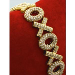 "18K Yellow Gold Pav Diamond ""Hugs & Kisses"" Bracelet"