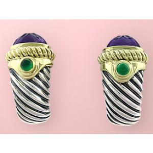 David Yurman Sterling Silver & 14K Yellow Gold Iolite & Amethyst Earrings