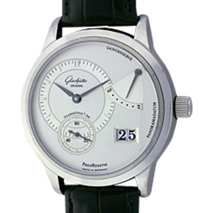 "Glashütte ""PanoReserve"" Stainless Steel Mens Strap Watch"
