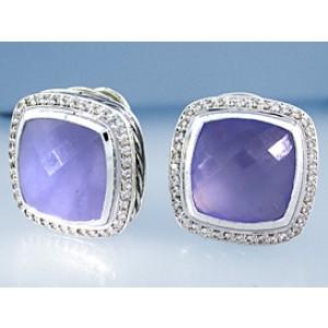 David Yurman Sterling Silver Chalcedony & Diamond Earrings
