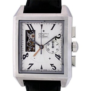 "Zenith ""Port Royal El Primero Open"" Chronograph Stainless Steel Mens Strap Watch"