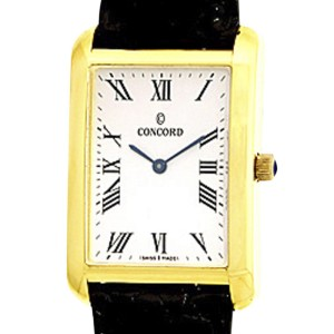 Concord Bennington Tank Rectangle 18K Yellow Gold Mens Watch