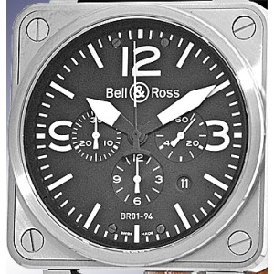 """Bell & Ross """"BR01-94"""" Stainless Steel Chronograph Mens Strap Watch"""