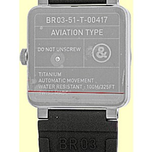 """Bell & Ross """"BR 03-51"""" GMT Dual Time Titanium Mens Strap Watch"""