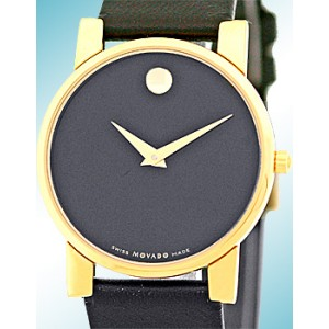 "Movado ""Museum"" Gold Tone Mens Strap Watch"