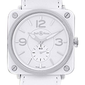"Bell & Ross ""BRS-98"" Stainless Steel & White Ceramic Womens Strap Watch"