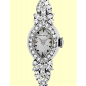 Girard Perregaux Vintage Platinum & 14K White Gold Diamond Evening Watch