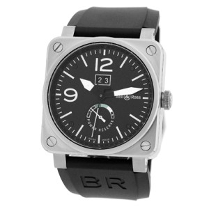 """Bell & Ross """"BR03-90"""" Big Date Power Reserve Stainless Steel Mens Strap Watch"""