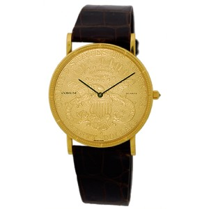 Corum 1884 Twenty Dollar U.S. Coin 18K Yellow Gold Mens Watch