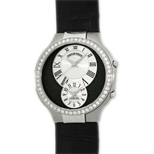"Philip Stein ""Teslar"" Dual Time Stainless Steel Diamond Strap Watch"