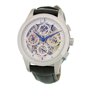 Perrelet Skeleton Chronograph GMT Stainless Steel Mens Watch