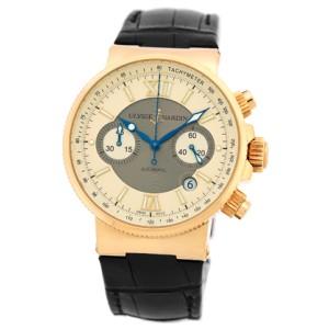 "Ulysse Nardin ""Maxi Marine Chronograph"" 18K Rose Gold Strap Watch"