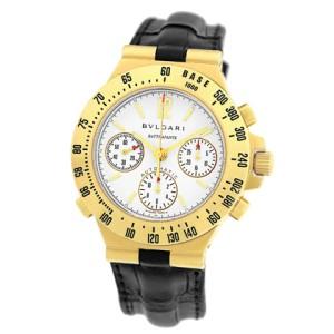 Bulgari Diagono Pro Terra Rattrapante Chronograph 18K Yellow Gold Strap Mens Watch