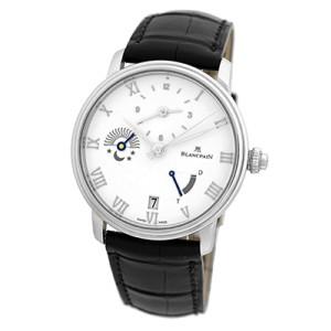 Blancpain Villeret Half Timezone Stainless Steel Mens Strap Watch