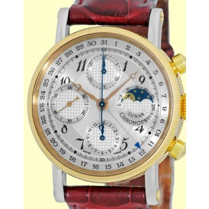 "Chronoswiss ""Lunar"" Chronograph Stainless Steel & 18K Rose Gold Strap Watch"