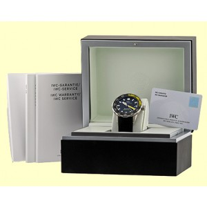 """IWC """"Aquatimer"""" Stainless Steel Divers Strap Watch"""