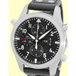 """IWC """"Pilot"""" Double Split Second Stainless Steel Chronograph Automatic Strap Watch"""