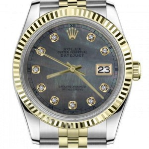 Rolex Oyster Perpetual 36mm Black Mother Of Pearl Diamond Accent Dial with Roman Numeral Track