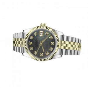 Rolex 36mm Datejust Black Mother Of Pearl Dial with Diamond Numbers Two Tone Automatic Watch