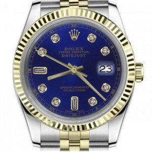 Rolex 36mm Datejust Blue 8+2 Diamond Accent Dial Yellow Gold Fluted Bezel Jubilee Band