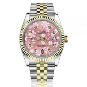 Rolex 36mm Datejust Pink Flower Diamond Accent Dial Two Tone Jubilee Watch
