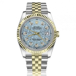 Rolex 36mm Datejust Discreet Jubilee Design Ice Blue Dial with Diamond Accent Fluted Gold Bezel