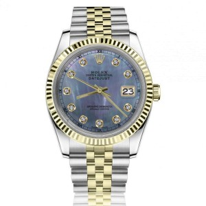 Rolex 36mm Datejust with Diamond Numbers Tahitian Mother of Pearl Dial Jubilee Band 2 Tone Watch
