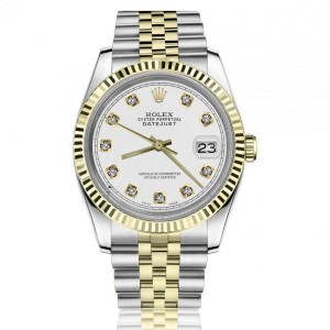 Rolex 36mm Datejust White Color Dial with Diamond Accent Two Tone Jubilee Band 16013 Watch