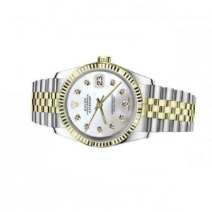 Rolex 36mm Datejust White Mother of Pearl Dial with Diamond Accent Classic Two Tone Watch