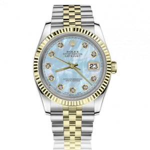 Rolex 36mm Datejust Baby Blue Mother Of Pearl Dial Round & Baguette Diamonds Yellow Gold Bezel