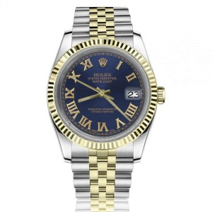 Rolex Oyster Perpetual Datejust Blue Dial with Roman Numerals Two Tone 36mm Watch