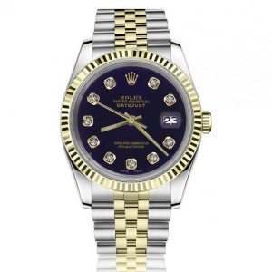 Rolex 36mm Datejust Purple Dial with Diamonds 18k Yellow Gold & Stainless Steel Jubilee Watch