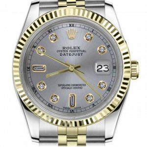 Rolex 36mm Datejust Grey Dial with Beguette & Round Diamond Numbers Fluted Yellow Gold Bezel