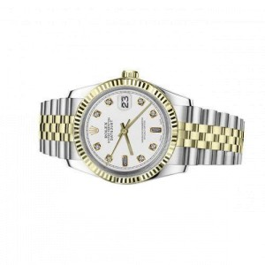Rolex 36mm Datejust White Dial Baguette & Round Diamonds 18k Yellow Gold & Stainless Steel Watch