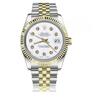 Rolex Oyster Perpetual Datejust Discreet Jubilee Design White Dial with Diamonds 2 Tone 36mm Watch