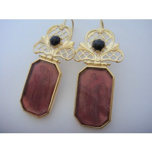 Tagliamonte Gold Plated Over Sterling Silver with Venetian Cameos and Sapphire Earrings