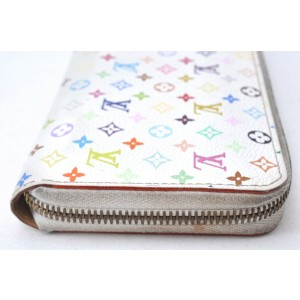 Louis Vuitton Monogram Multicolor Zippy Wallet Purse White M60243