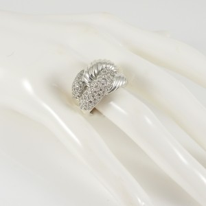David Yurman Sterling Silver .69tcw 14mm Pave Diamond Infinity Knot Ring