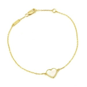 Van Cleef & Arpels 18K Mother of Pearl Sweet Alhambra Heart Bracelet CHAT-578