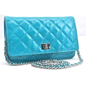 CHANEL Enamel Matelasse Chain Shoulder Bag Light Blue