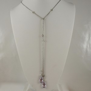 "Lagos Sterling Silver 18K Yellow Gold 34"" Caviar Color Rose de France Amethyst Lariat Necklace"